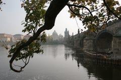 Charles bro i Prague över den Vltava floden Arkivfoto