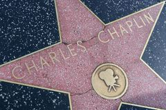Charles Chaplin star on the Hollywood Walk of Fame royalty free stock photography