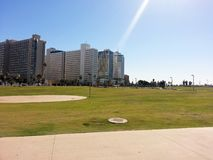 Charles Chlor Garden, Tel Aviv. A garden that separates Tel Aviv from Jaffa, the Dolphinarium beach on the western side of the garden Royalty Free Stock Photography