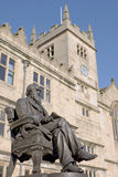 Charles Darwin Statue, England. Bronze statue of the famous 19th century English naturalist Charles Darwin, outside the library in Shrewsbury, where he was born Stock Image