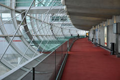 Charles de Gaulle Airport Walkway. Walkway leading toward gates of terminal 2E of Charles de Gaulle Airport in Paris, France Stock Images