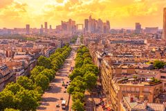 Charles de Gaulle square panorama. Place Charles de Gaulle square panorama at sunset from Arc de Triomphe top terrace with Paris skyline in France, Europe Royalty Free Stock Photo