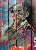 Charles Dickens. Abstract painting on a wall of Charles Dickens. Street art of a literature genius Stock Images