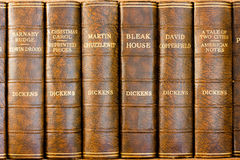 Charles Dickens books. Antique leather bound Charles Dickens books Stock Photography