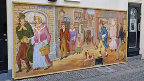 Charles dickens painting. Large charles dickens painting in deventer, netherlands. Each year before Christmas hundreds of characters of the British author, from Stock Photos