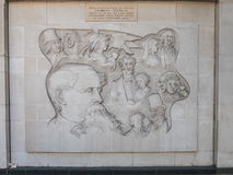 Charles Dickens relief sculpture and memorial, Marylebone Road, Royalty Free Stock Image
