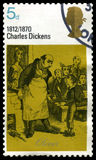 Charles Dickens UK Postage Stamp. UNITED KINGDOM, CIRCA 1970: A vintage British postage stamp commemorating the works of famous English novelist Charles Dickens Royalty Free Stock Photography