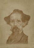 Charles- Dickenskarikatur Sepia-Stichart Stockbilder
