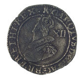 Charles I Shilling. Hammered silver shilling of Charles I stock photos