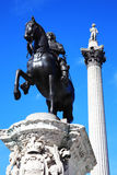 Charles I statue and Nelson's Column Stock Image