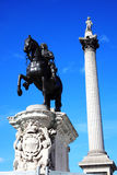 Charles I statue and Nelson's Column Stock Photo