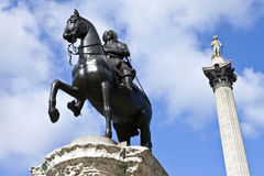 Charles I Statue and Nelson's Column Stock Photography