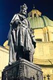 Charles IV standbeeld bij nacht. Praag. Royalty-vrije Stock Foto