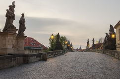Charles (Karluv) Bridge in Prague (Czech Republic) Stock Images