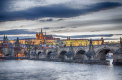 Charles (Karluv) Bridge in Prague (Czech Republic) Stock Photos