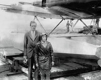 Charles A. Lindbergh , American Aviator. Famous American Aviator, Charles A. Lindbergh and wife, Anne Morrow Lindbergh at North Beach Airport ,Queens, NYC on Stock Photos