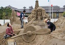 charles lindbergh sandsculptors Zdjęcie Royalty Free