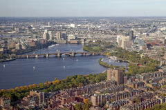 Charles and Longfellow. The Longfellow Bridge stretches over the Charles River -- Boston, Massachusetts, USA Stock Images