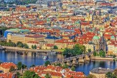 Charles most w Praga, widok z lotu ptaka, republika czech zdjęcia royalty free
