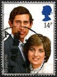 Charles och Diana UK portostämpel royaltyfri foto