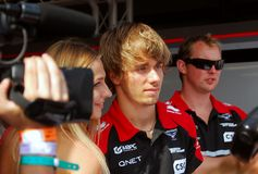 Charles Pic at Moscow City Racing Royalty Free Stock Images