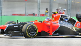 Charles Pic racing in F1 Singapore GP Stock Image