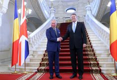 CHARLES, PRINCE OF WALES IN ROMANIA. Charles, Prince of Wales left pictured during an official meeting with Romanian President Klaus Iohannis at Cotroceni Palace stock photos