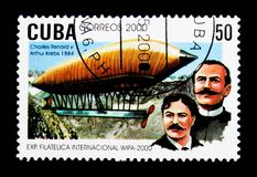 Charles Renard and Arthur Krebs, 1884, WIPA 2000 Philatelic Exhi. MOSCOW, RUSSIA - NOVEMBER 25, 2017: A stamp printed in Cuba shows Charles Renard and Arthur Royalty Free Stock Image