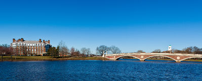 The Charles River. View of the Charles River in Boston, Massachusetts with the Weeks Memorial Footbridge on a sunny spring day Stock Image
