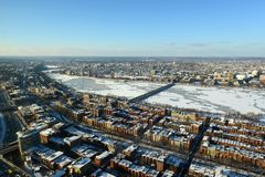 Charles River and Back Bay in Boston, USA. Aerial view of Back Bay, Charles River and apartment from Prudential Center in winter, Boston, Massachusetts, USA Stock Image