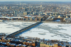 Charles River and Back Bay in Boston, USA. Aerial view of Back Bay, Charles River and apartment from Prudential Center in winter, Boston, Massachusetts, USA Royalty Free Stock Images