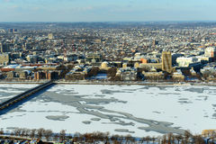 Charles River and Back Bay in Boston, USA. Aerial view of Back Bay, Charles River and apartment in winter, Boston, Massachusetts, USA Stock Image