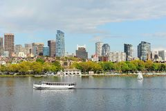 Charles River, Boston in Spring. A view of Boston skyline and the Charles river with white sailboats in the spring stock photo
