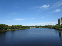 Charles river with bridge in distance. By Harvard University taken on bridge in Boston Royalty Free Stock Photo