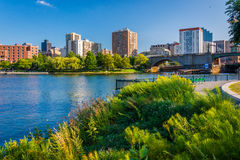 The Charles River and buildings in Boston, seen from North Point. Park, in Cambridge, Massachusetts Royalty Free Stock Images