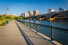 The Charles River and railroad bridge at North Point Park in Bos Royalty Free Stock Photos