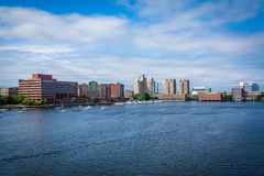 The Charles River, seen from the Longfellow Bridge, in Boston, M Royalty Free Stock Photos
