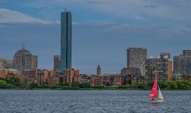 Skyline of Boston from the river stock images