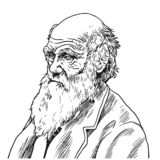 Charles Robert Darwin Vector Cartoon Caricature Illustration 9 septembre 2018 illustration stock