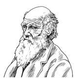Charles Robert Darwin Vetora Cartoon Caricature Illustration 9 de setembro de 2018 ilustração stock