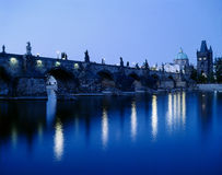Charles's bridge. Old town bridge at sunset Royalty Free Stock Images