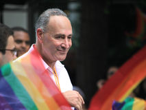 Charles Schumer in NYC LGBT Gay Pride March 2010. NEW YORK CITY - JUNE 27: U.S. Senator Charles Schumer in NYC LGBT Gay Pride March on June 27, 2010 in New York Royalty Free Stock Images