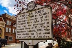 Charles Town Historic Marker Sign foto de archivo libre de regalías