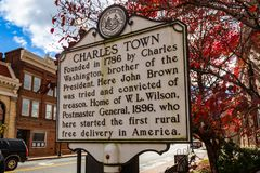 The Charles Town Historic Marker Sign. Charles Town, WV, USA - November 3, 2018: The Charles Town Historic Marker Sign located in the downtown area of the West royalty free stock photo