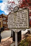 Charles Town Historic Marker Sign. Charles Town, WV, USA - November 3, 2018: The Charles Town Historic Marker Sign located in the downtown area of the West royalty free stock image