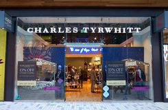 Charles Tyrwhitt Menswear Clothing Store in England. Bracknell, England - Nov 25, 2017: Exterior of the Charles Tyrwhitt store with people inside in the town of Stock Photography