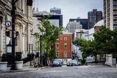 Charles ulica w Mount Vernon, Baltimore, Maryland Zdjęcie Royalty Free