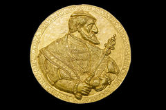 Charles V Gold Medal. 1519-1556. Isolated over black background Stock Photography