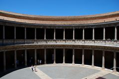 Charles V Palace courtyard, Alhambra Palace. Royalty Free Stock Image
