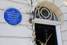 Charles Vyner Brooke Blue Plaque in London Royalty Free Stock Photos